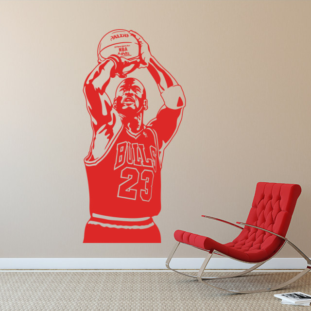 2018 New Design Michael Jordan Wall Sticker Vinyl DIY Home Decor Basketball  Player Decals Sport Star For Kids Room Free Shipping