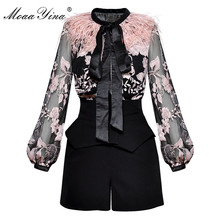 MoaaYina Spring Women Suit Bow collar Feather lantern Sleeve Mesh See through Embroidery Vintage Blouse+Shorts Two piece suit