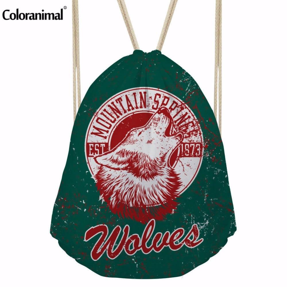 Coloranimal Hot Sale  3D Wolf Print Drawstring Bag Daily Casual Shopping Bag Gyms Shoe Bags Men Women Animal Pattern Cinch Bag