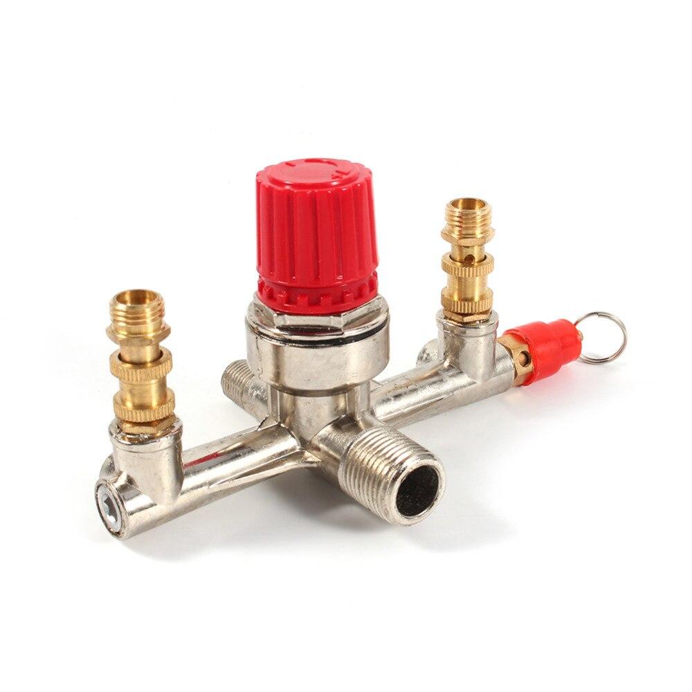 Heimwerker Doppel Outlet Rohr Legierung Luft Kompressor Schalter Druckregler Ventil Fit Teil Ventil