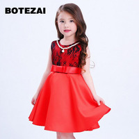 3 8T Brand Satin Flower Girl Dress Red Sequin Princess Tutu Party Wedding Dresses For Girls