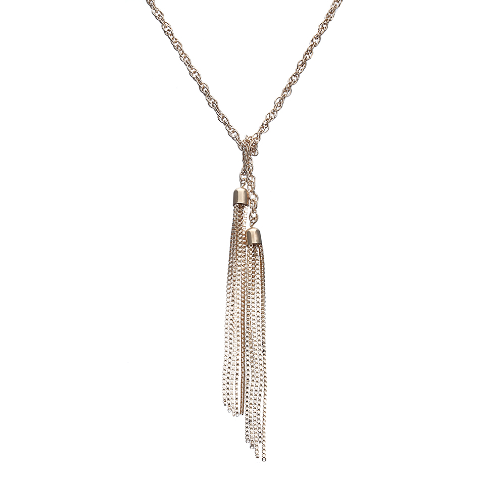 Match-Right Luxurious Double Tassel Necklace Long Design Necs