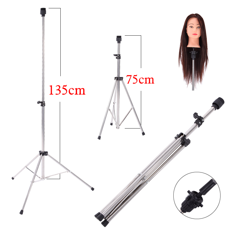 Aluminum Adjustable Tripod Stand Practice Hair Training Mannequin Head Holder Clamp Showed Prop Pro Salon Styling Accessories