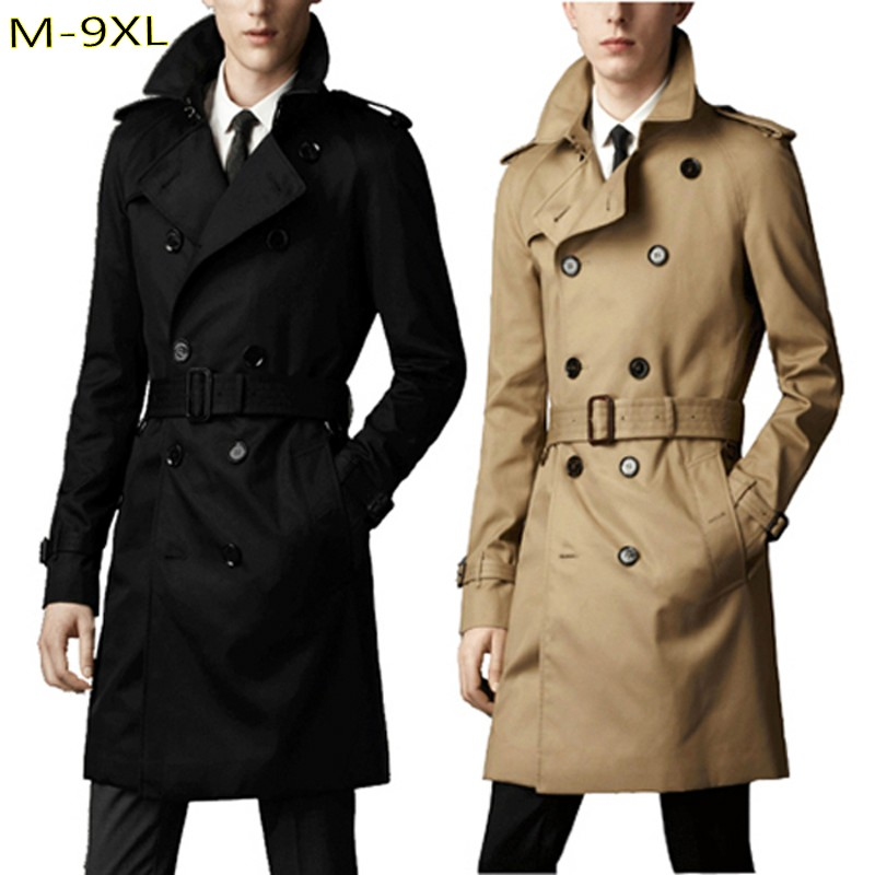 8xl men velvet Trench turn-down collar loose double autumn plus size 6xl 9xl breasted X-long  jacket  Sashes big size coats