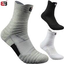 1 пара, баскетбольные носки, мужские длинные уплотненные хлопковые носки с махровой подошвой, носки для бега, бадминтона, тенниса, спортивные носки