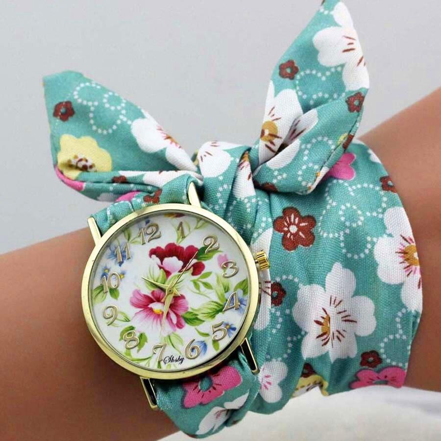 shsby dizains Sieviešu ziedu auduma rokas pulkstenis zelta modes - Sieviešu pulksteņi - Foto 3