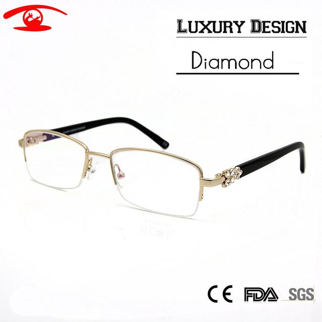 Роскошные Алмаз Половина Обода Очки Рамки Женщины Моды Кадров Glassses Rx Четкие Очки женщин Óculos де грау женщина для Оптических