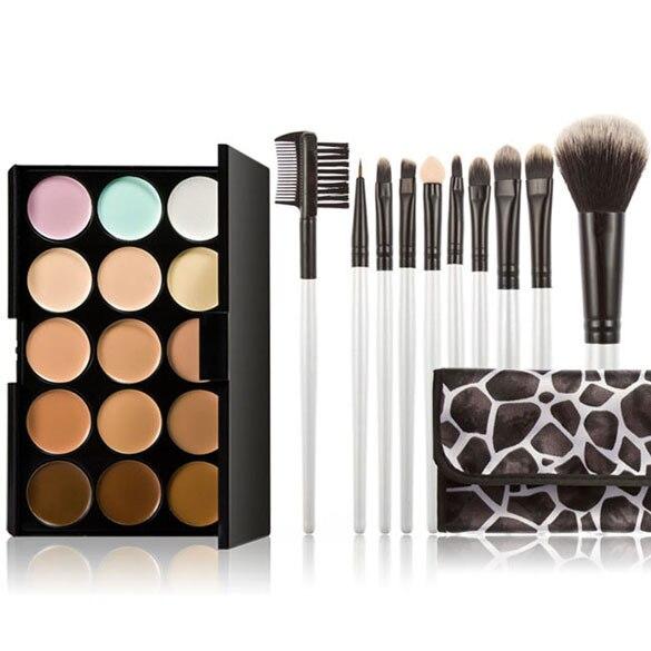 Professional Concealer Palette 15 Color Makeup Facial Concealer Camouflage Cream Palette 10PCS Cosmetic Makeup Brushes Set тональный крем 15 color concealer 15 2 1 asbh0012 jhbh052