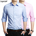 Новый Бренд 2017 Мужские Рубашки Мода Повседневная Slim Fit С Длинными Рукавами Сплошной Цвет Рубашки Мужчин Социальной Сорочка Homme Азии размер M-5XL