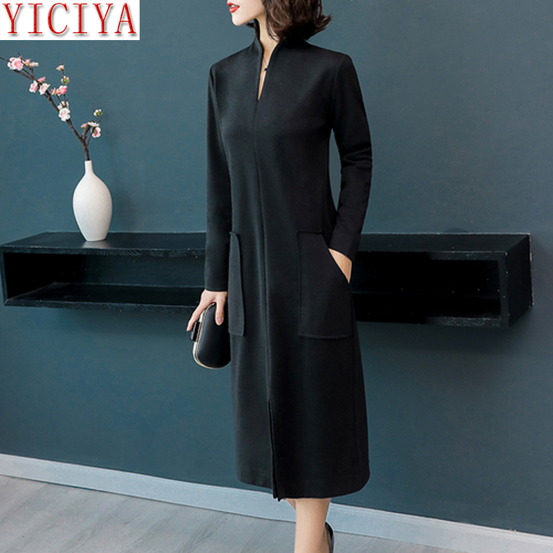 Office Warm knitted dress plus size winter autumn 2018 long sleeve bodycon pocket dresses robe casual green black midi clothes