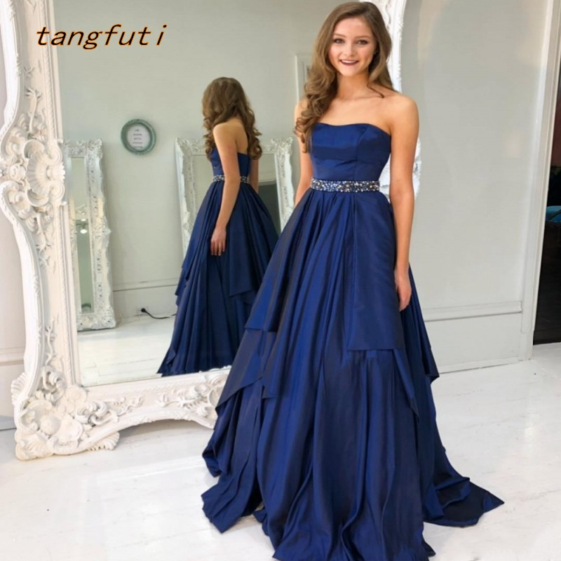 Vintage   Prom     Dresses   Long 2019 Satin With Beaded Belt Sexy Backless Formal Evening Party   Dress     Prom   Gowns Vestido De Festa
