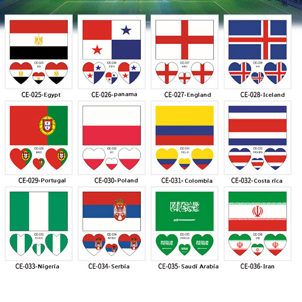 10PCS 2018 Russia World Cup 32 Teams Tattoo Stickers National Football  Team Environmental  Waterproof Flag Stickers On Face Arm