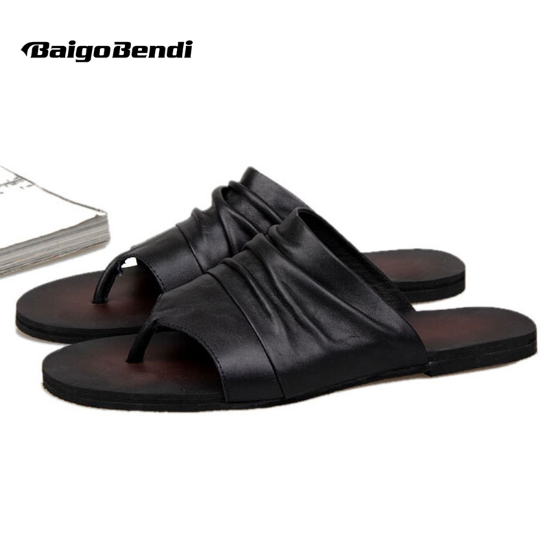 6ac5deacf21206 US-6-10 Men Vintage Genuine Leather Casual Flip Flop Slipper Casual Beach  Sandals Summer Outdoor Shoes
