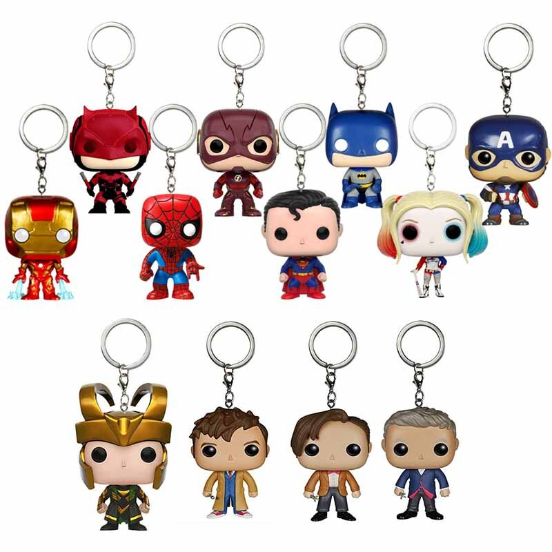 <font><b>POP</b></font> Harley Quinn Batman Superman <font><b>Spiderman</b></font> Thor Black Panther Doctor Who Stranger Thing <font><b>Marvel</b></font> Action Figure Gift Toy Keychain