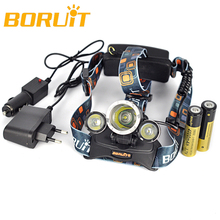 Boruit RJ 3000 Headlamp With 18650 Battery EU US Ac Car Charger Lanterns 8000 Lumens 3x