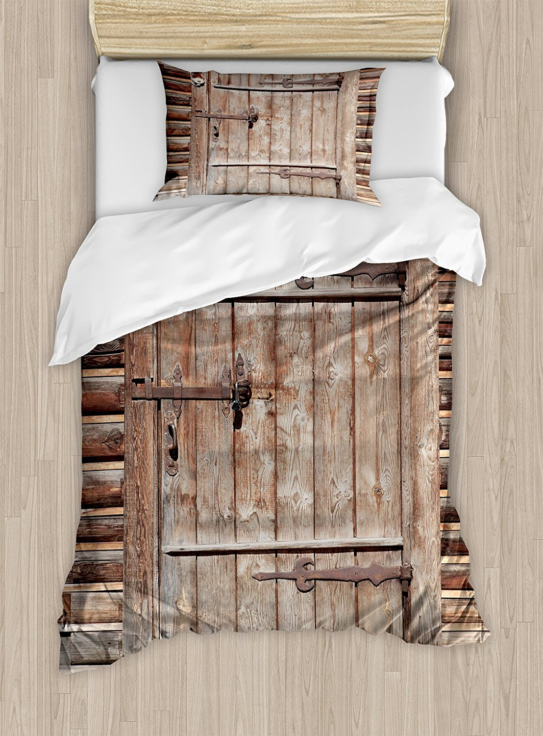 Rustic duvet cover set timber rustic door in wall of an old log house ancient abandoned building entrance gate decor bedding set in bedding sets from home