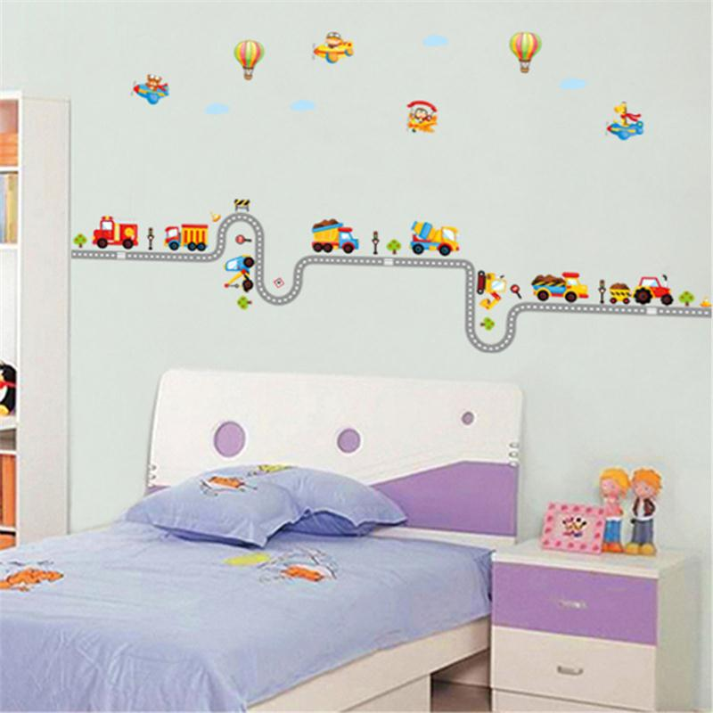 Мультяшный автомобиль автострада наклейки на стену для детей для комнаты мальчика настенные наклейки декоративные наклейки для дома Фреска