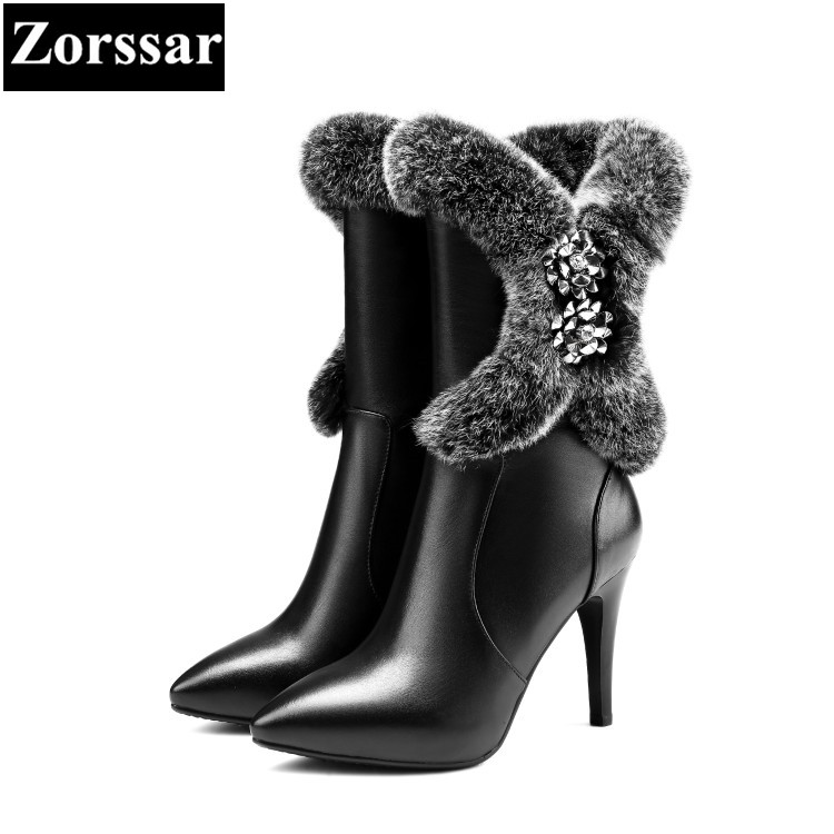 {Zorssar} Luxury brand ladies shoes pointed Toe thin heels ankle boots Fashion Rabbit hair Leather High heels womens snow boots zorssar autumn ladies shoes wedges high heels women platform pumps fashion genuine leather horse hair pointed toe womens shoes