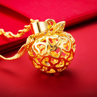 Gold Color Apple Pendant Christmas Eve Gift Love Heart Hollow Small Apple Necklace Womens Jewelry