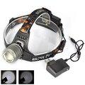 3-Mode High/Low/Strobe Boruit 2000LM  T6 LED Headlamp Fishing Head Light  Headlight Head Flashlight Gray + AC Charger