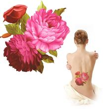 China Peony Flower Tattoo Series Large Temporary Tattoos For Adults Beauty Leg Arm Back Fake Tattoo Stickers MQA05