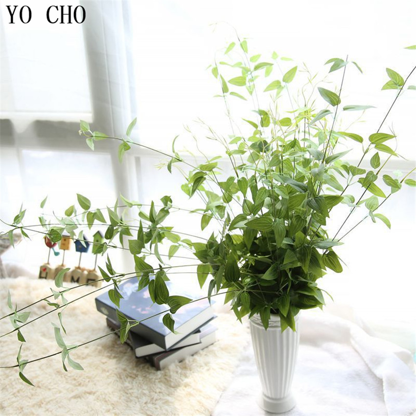 YO CHO 90cm Flower Vine Rattan Artificial Plant Leaves Bonsai Vitality Silk Green Wicker Diy Flower Arranging Accessories Plant