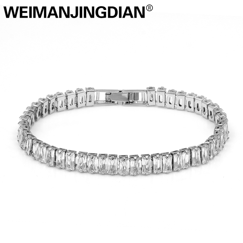 WEIMANJINGDIAN Brand Square Cubic Zirconia Crystal Tennis CZ Bracelets for Women or Wedding Bride weimanjingdian sparkling cubic zirconia crystal flower design pull string zirconium wedding bracelets for girls or wedding
