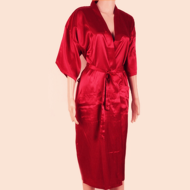 c00a9badfec Unisex Red Silk Kimono Robe Bath Gown Chinese Male Long Sleepwear Solid  Color Pajama Plus Size S M L XL XXL XXXL NR002