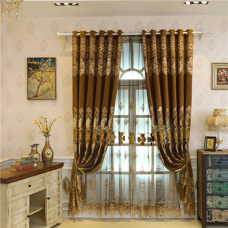 Royal Luxury Custom Blue/Brown Embroidered European Curtains For Living  Room With High Grade Voile Curtain For Bedroom Windows In Curtains From  Home ...