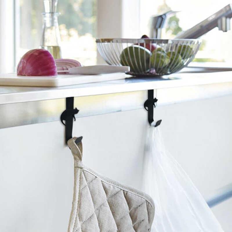1 pc A Forma di Gatto Decorativi Titolare Kitchen Portello Della Parete Gancio In Metallo Chiave Appendiabiti Rack di Stoccaggio Strumento