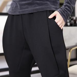 Image 5 - [EAM] wysoka elastyczna talia czarny rozrywka krotnie spodnie haremowe nowy luźny krój kobiety moda fala wiosna jesień 2020 JK480