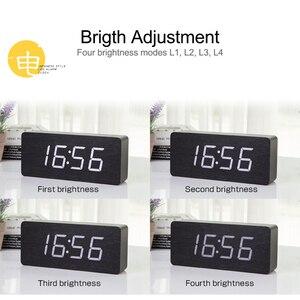 Image 3 - JINSUN Gỗ LED Đồng Hồ Kỹ Thuật Số Hiện Đại Vuông Đầy Màu Sắc Bằng Gỗ Đồng Hồ Báo Thức với Nhiệt Độ Điều Khiển Bằng Giọng Nói 2019 Thiết Kế Mới