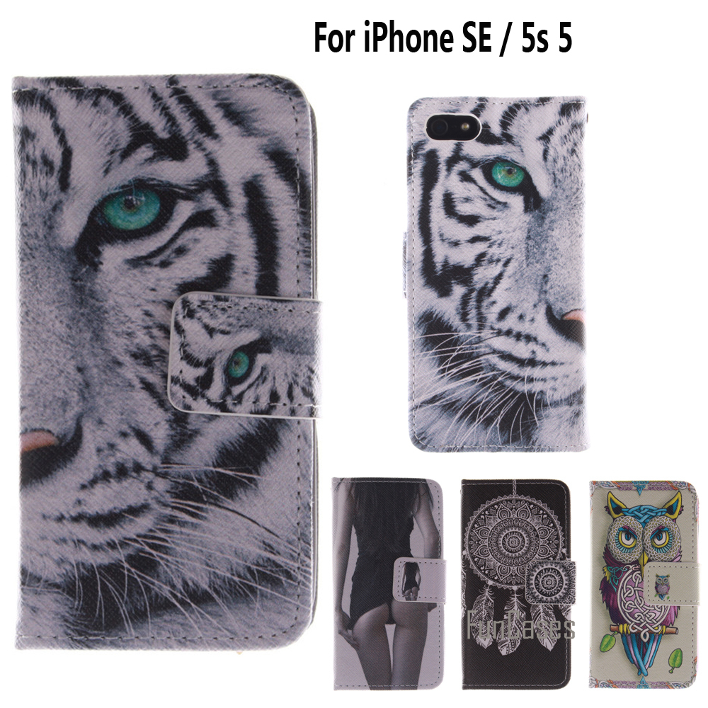 Flip Case for coque iPhone SE Case Cover for fundas iPhone 5s 5 Cover + Stand Card Holder For ipone iphon ihone ifon aifon