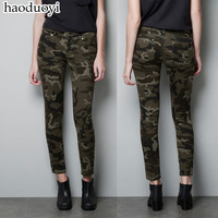 New fashion Brand womens clothing Trousers camouflage pencil pants for women Military uniform Plus size camouflage skinny pants