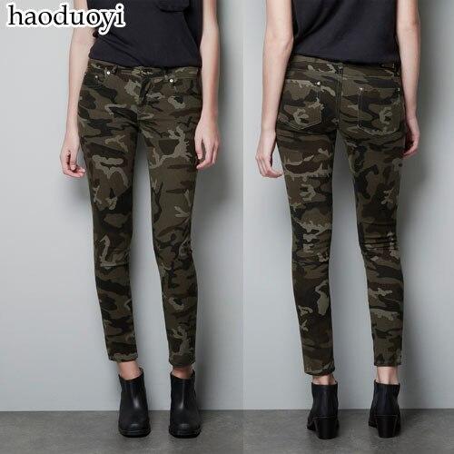 ef824a466d Nueva marca de moda para mujer ropa Pantalones camuflaje lápiz pantalones  para las mujeres Militar uniforme