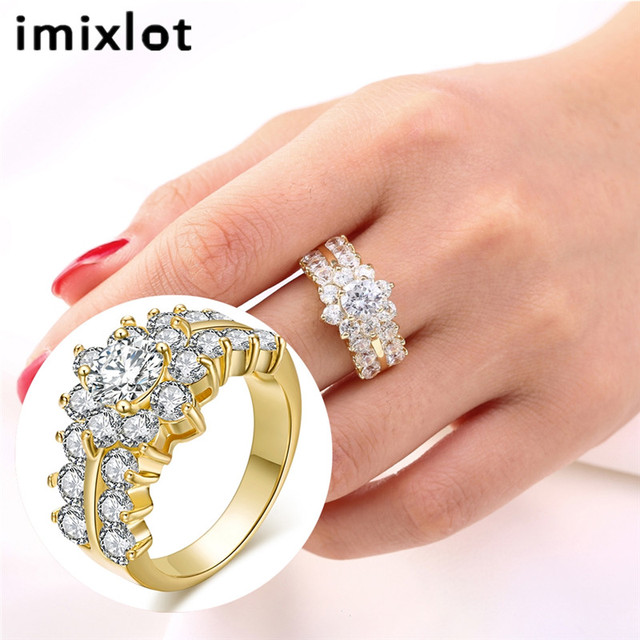 a53fdaa3f43 imixlot Stylish Elegant Petal Micro inlaid Zircon Crystal Rhinestone Charm  Ring for Women Finger Jewelry Bague Wholesale-in Engagement Rings from ...