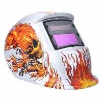 Solar Powered Auto Darkening Welding Helmet Protection For Grinding Lens Tig Welder Mask Skull Silver