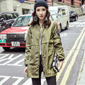 2016 Autumn College Baseball Windbreaker Women Long Trench Zipper Fashion Womens Trench Coat Outerwear Female Army Green