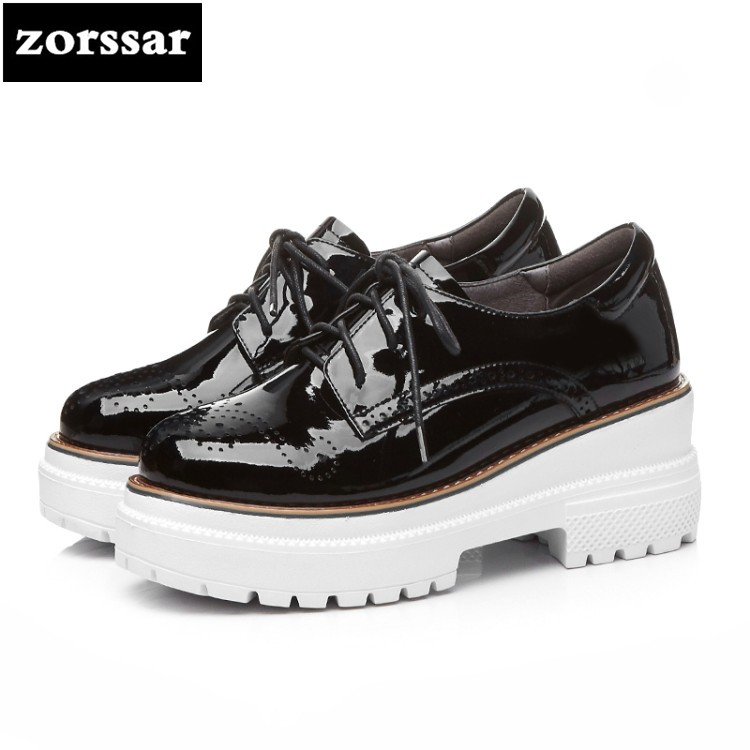{Zorssar} 2018 New Patent leather womens heels platform pumps Lace up Square heel High heels fashion women Creepers shoes punk platform creepers shoes womens round toe patent leather block high heel pumps lace up riding ankle boots shoes plus size