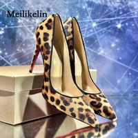 2019 Leopard women's shoes pumps stilettos high heeled 11cm thin heel shallow mouth party dress ladies shoe fashion pumps heels