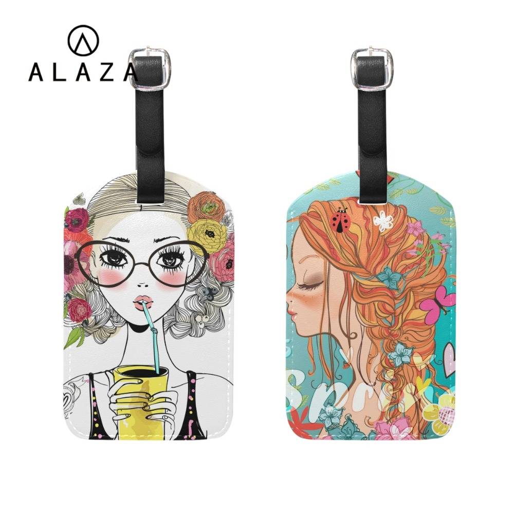 ALAZA Pretty Girl Printing PU Leather Luggage Tag For Friends Travel Accessories ID Addres Holder Tag Boarding Portable Label