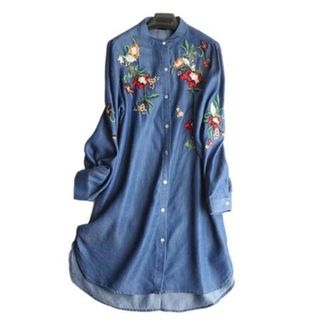 Casual Colored Flower Embroidery Denim Dresses 2018 Women Long Sleeve  Vintage Ethnic Jeans Shirt Dresses Vestidos Robe Femme c687e231498a