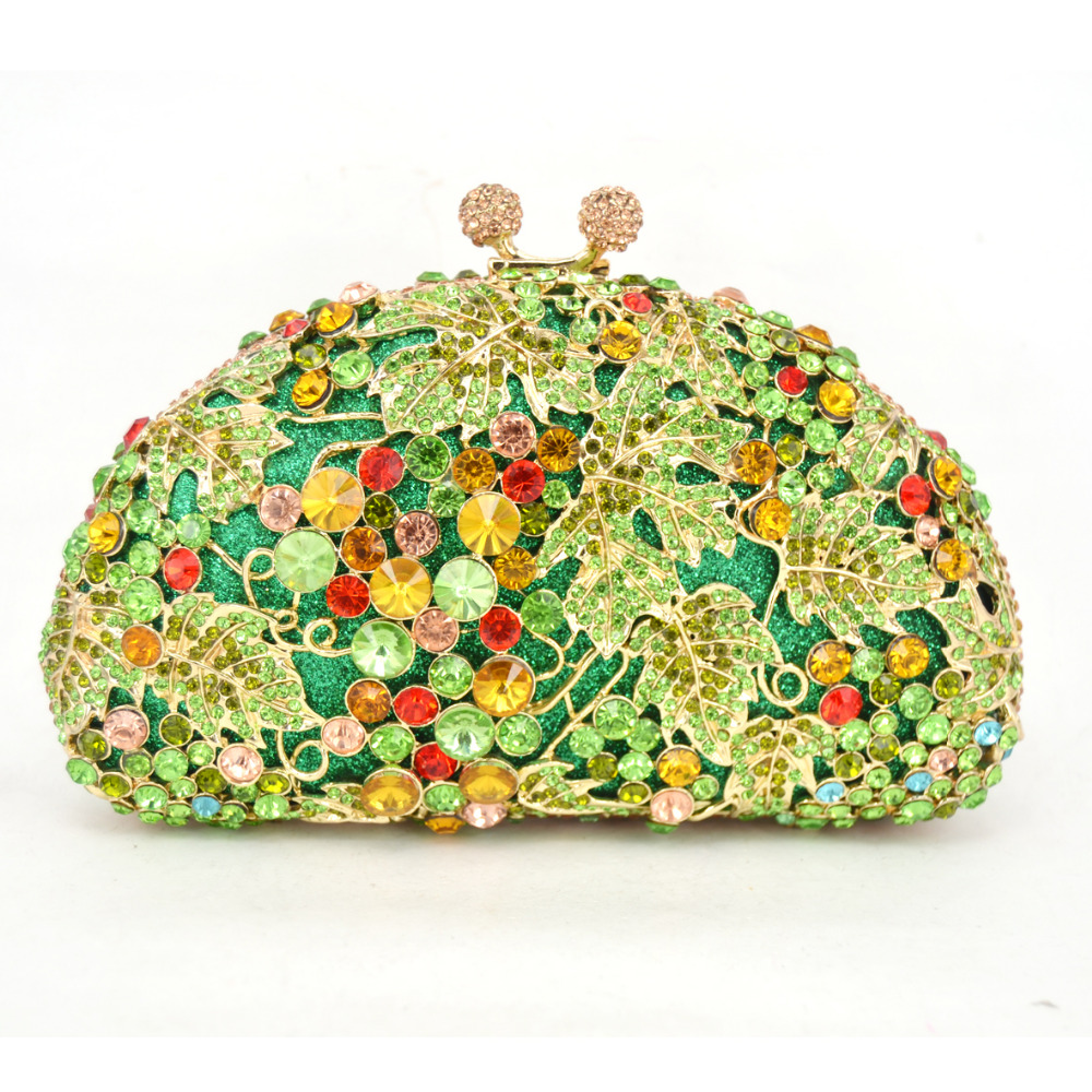 LaiSC Green grapes Luxury crystal Clutch evening bags animal pattern sparkly diamond pochette Purse women soiree