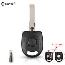 KEYYOU – coque de clé de voiture avec transpondeur ID48, transpondeur 10x, avec lumière et batterie, pour VW Polo Golf, SEAT Ibiza Leon, SKODA Octavia