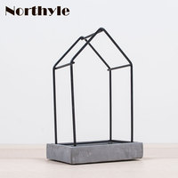 DH Industrial Style Candle Holder Concrete Basement Tealight Holder Home Candle Stand Decoration Candle Stick Wedding