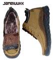 CAMELUUKK calientes Hechas A Mano de Cuero Genuino hombres de gran tamaño 47 botas de invierno, botas cómodas de tobillo zapatos, calidad de nieve botas