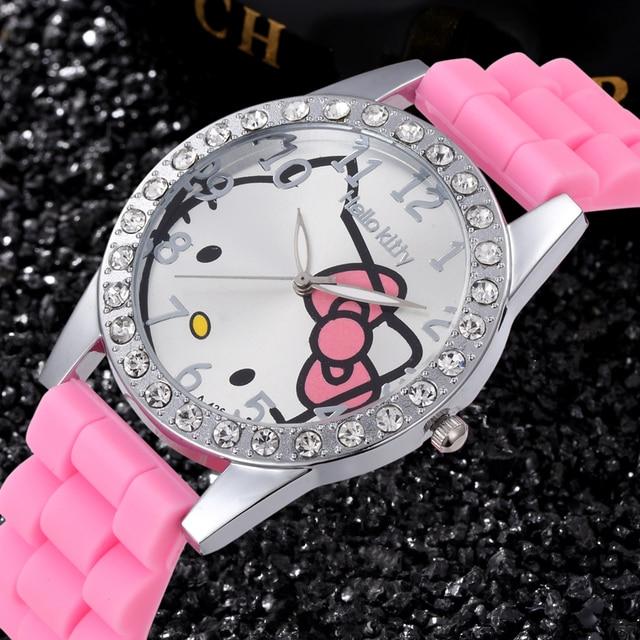 72ade4134 Lovely Hello Kitty Rhinestone Watch Children Girl Women Dress Fashion Crystal  Quartz Wristwatch Female Watch Hellokitty