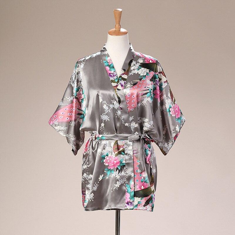 NEW Bridesmaid Bride Wedding Robe Kimono GRAY Bathrobe Nightwear Bathrobe Women S-XXXL Bat Sleeve Summer Home Dressing Gown