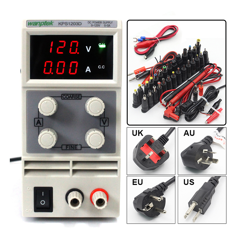 KPS1203D 調整可能な高精度ダブル led ディスプレイスイッチ DC 電源保護機能 120V3A 110 ボルト/220 ボルト 0.1 ボルト/0.01A EU  グループ上の 家のリフォーム からの スイッチ 電力供給 の中 1