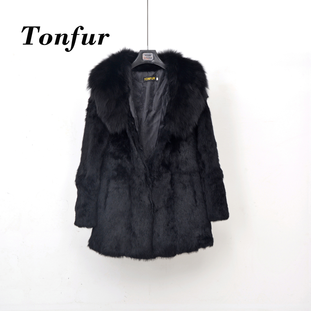Real Fur Full Pelt Rabbit Fur Coat with Fox Fur Collar Women Long Fox Fur Jacket Free shipping Customized big size TBSR260